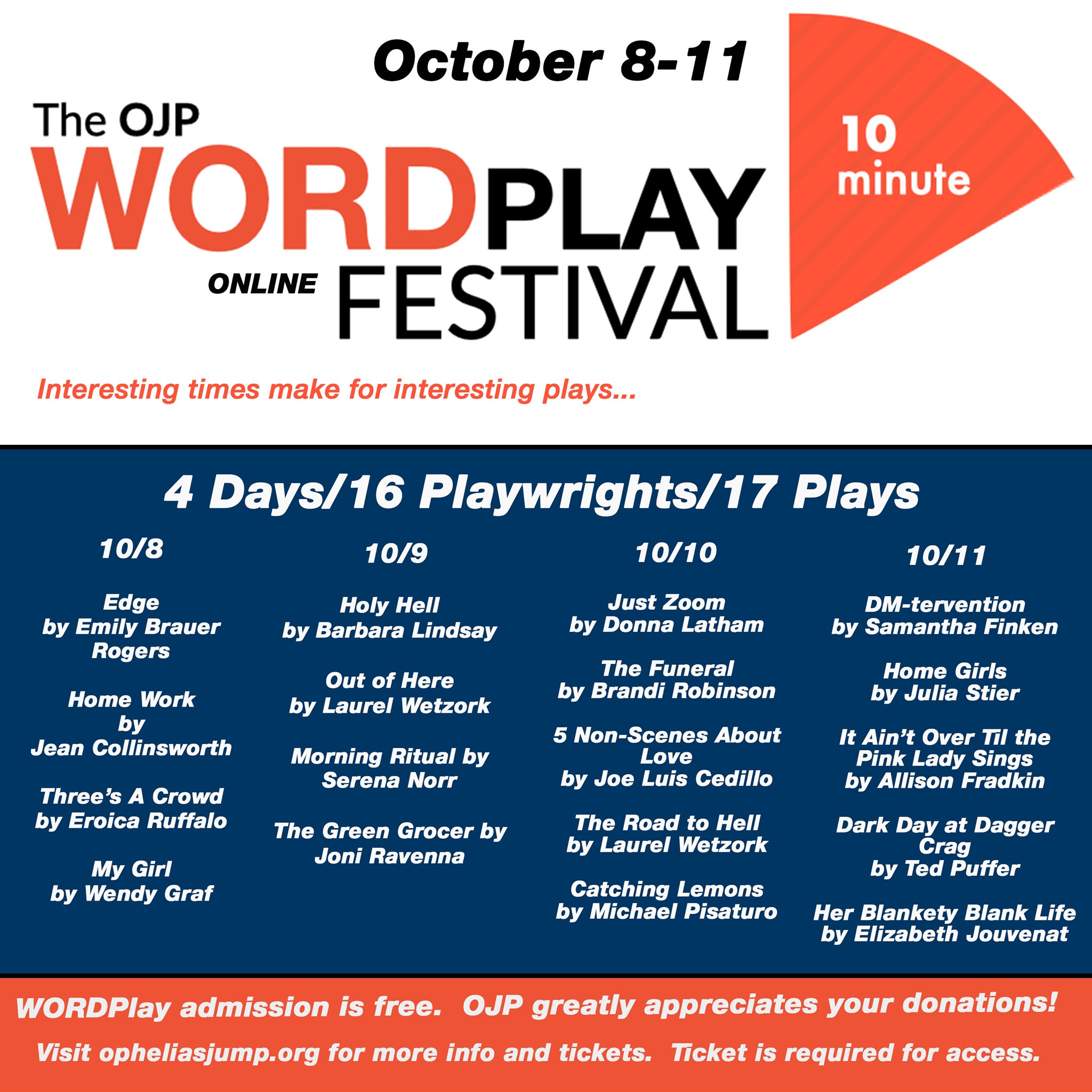 Ophelia's Jump Productions (WORD Play Festival) featuring my short play, Morning Ritual on 10/9 at 8pmEST
